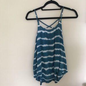 Sun & Shadow Blue and white tie dye tank top